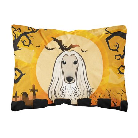 The Holiday Aisle EmeraldCove Halloween Afghan Hound Fabric Indoor/Outdoor Throw - The Halloween Hound