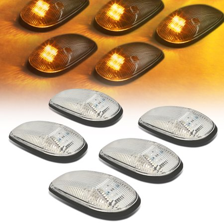 For 1999 to 2001 Dodge Ram 1500 2500 3500 BE 5 X LED Cab Roof Top Lights (Chrome Housing Yellow LED) 00