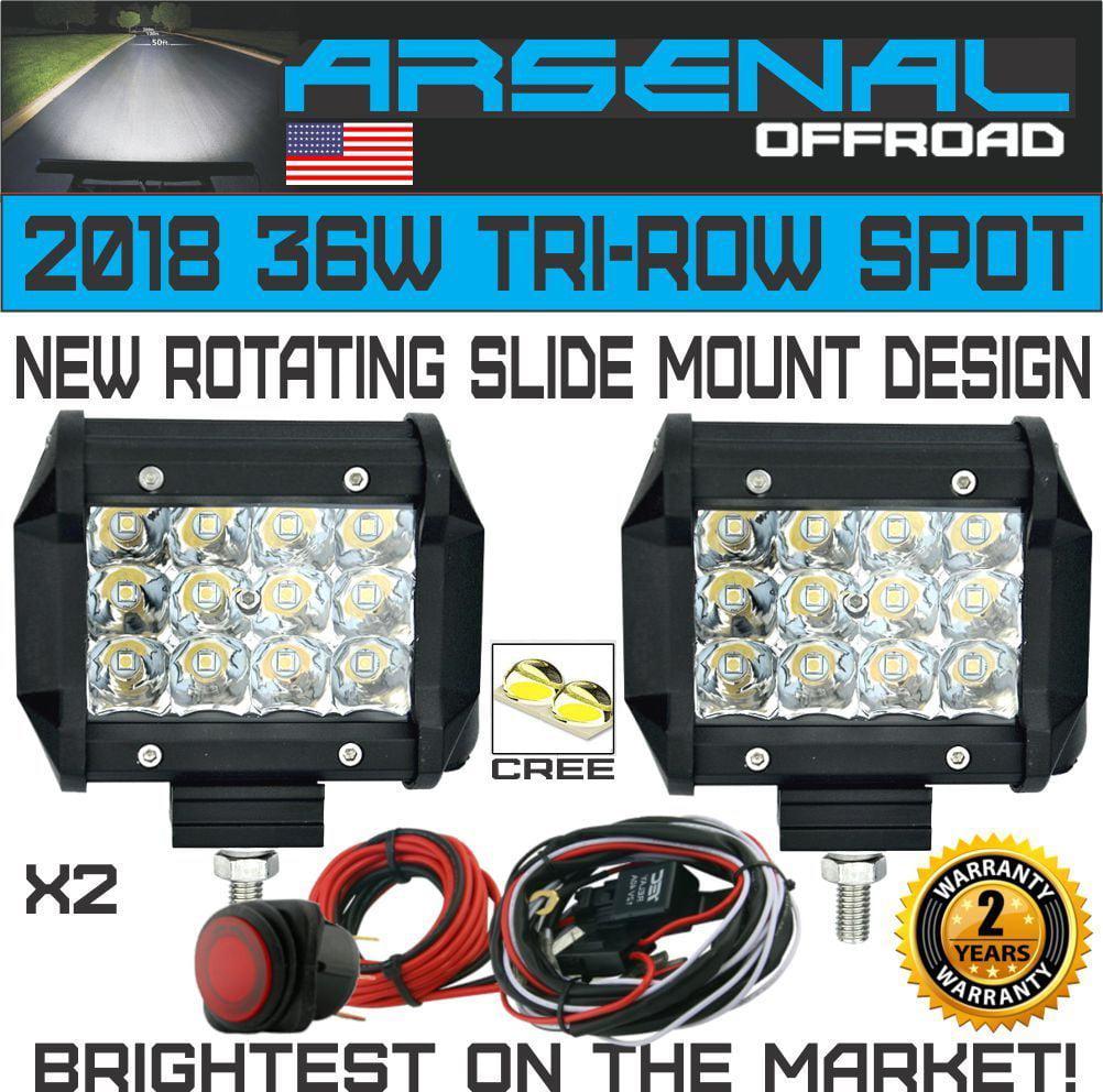 2X 36W 4In LED Pro Pod Cubes Work Light Bar Spot Beam 4x4 Jeep RZR UTV w//Harness