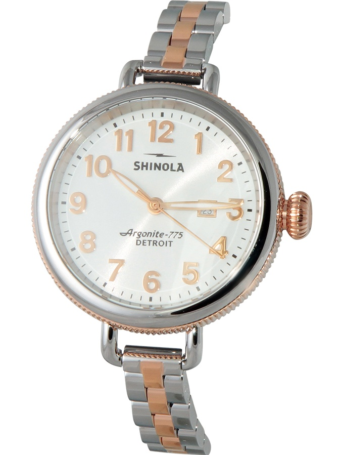 Shinola Stainless Steel Rose Gold Two Tone Band Watch 20001100