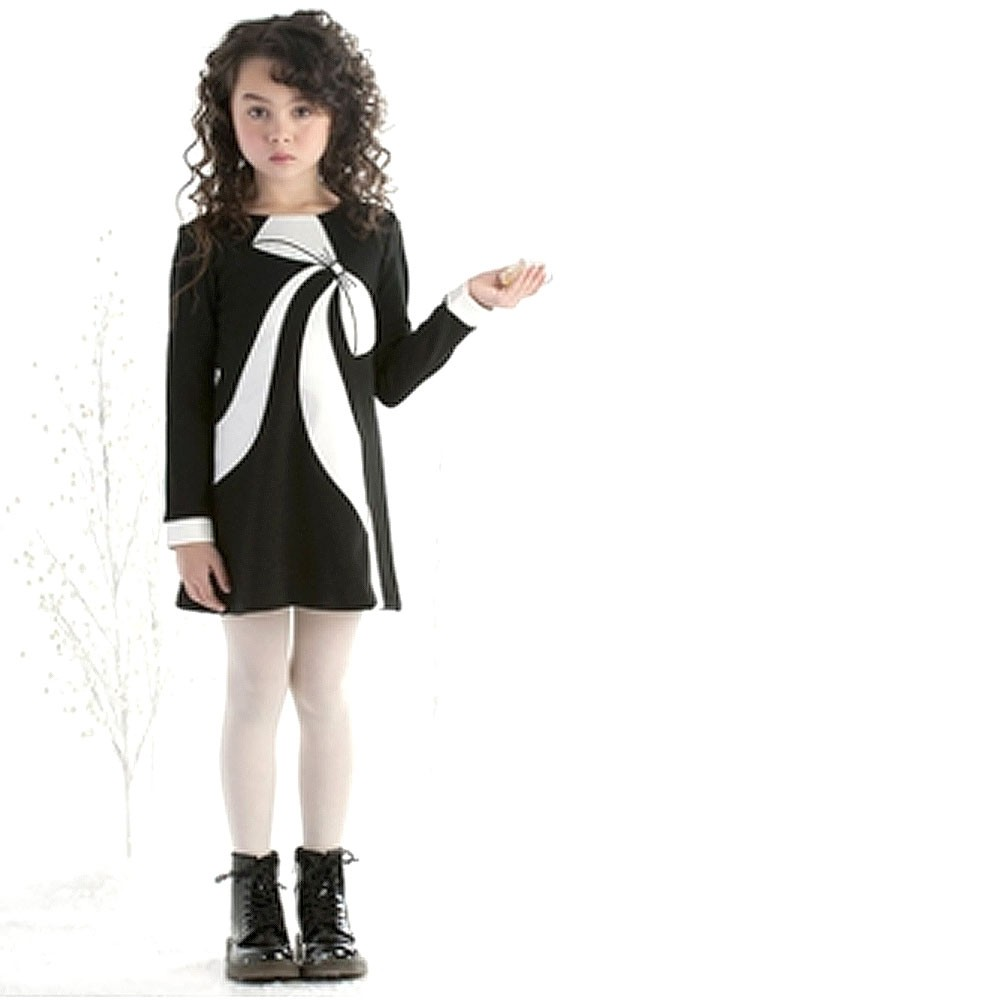 Biscotti Little Girls Black Ivory Bow Detail Knit Sheath ...