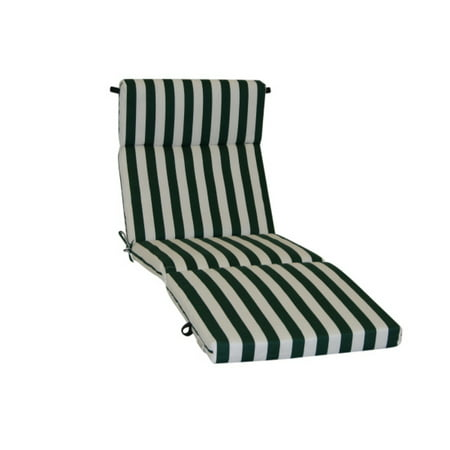 Blazing needles chaise lounge cushion in green and white for Blazing needles chaise cushion