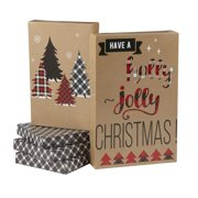 holiday time kraft plaid christmas trees gift boxes assorted sizes 5 pack