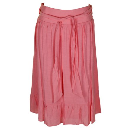 Ny Collection Petite Strawberry Belted Ruffled A-Line Midi Skirt (Petite Taffeta Skirt)
