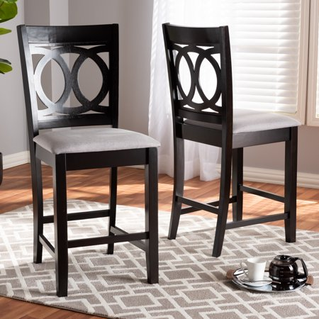 Baxton Studio Lenoir Modern and Contemporary Gray Fabric Upholstered Espresso Brown Finished Wood Counter Height Pub Chair Set (Set of 2) ()