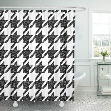 Classical Bath - KSADK Abstract Houndstooth Black and White Classic Tweed Checked Checkered Chic Classical Shower Curtain Bath Curtain 66x72 inch