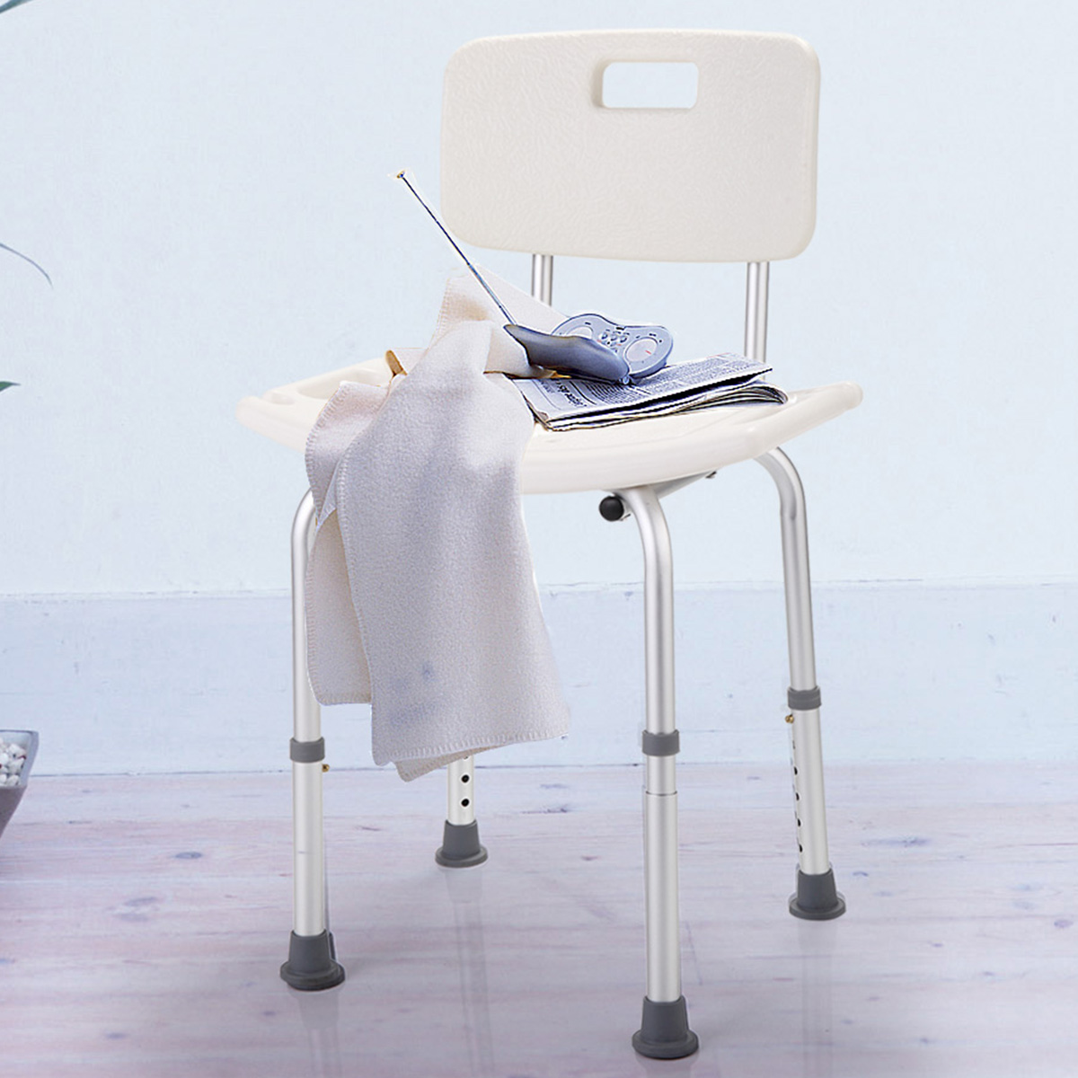 Jaxpety White Bath Shower Chair 6 Height Adjustable Medical Bench Bathtub Stool Seat Detachable Backrest