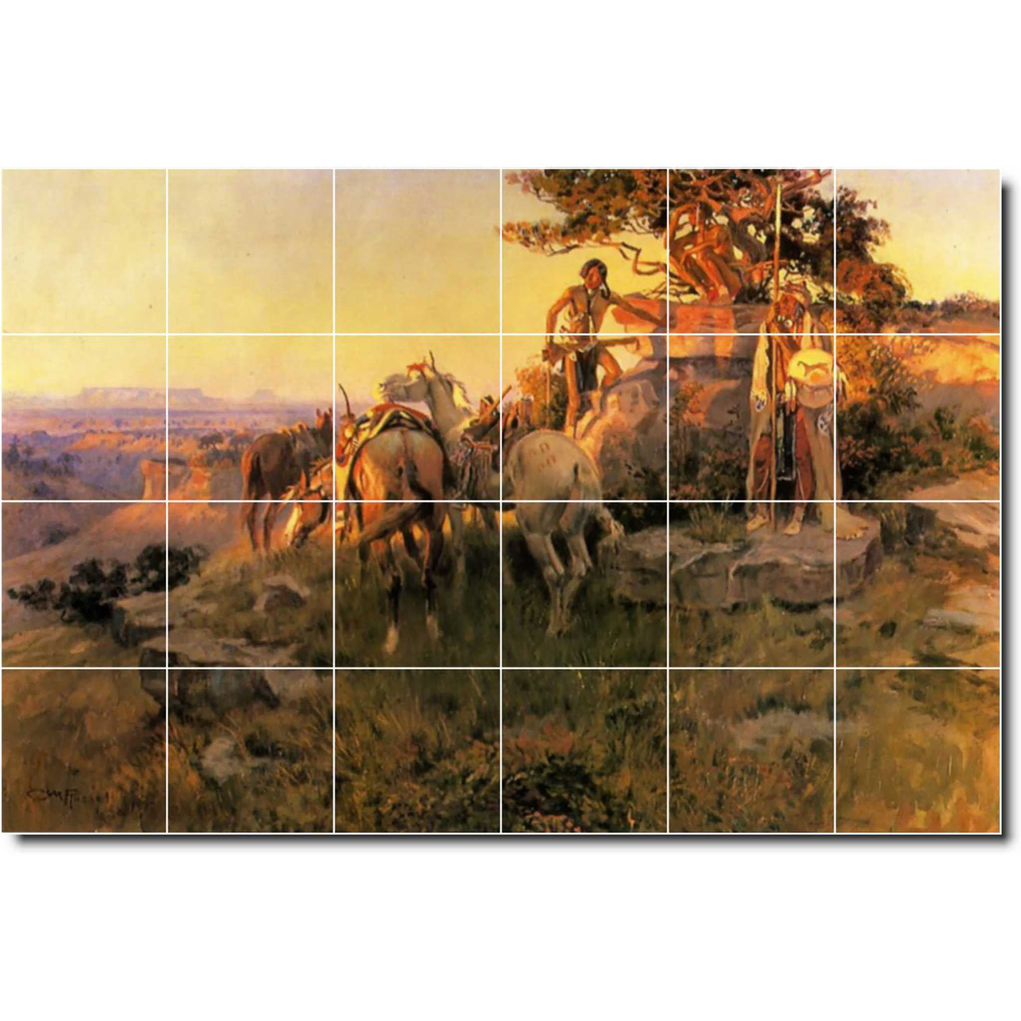 24 Ceramic Tile Mural-Charles Russell Western Backsplash Tile Mural 4 4.25 x 4.25 Ceramic Tiles 25.5 w x 17 h Using