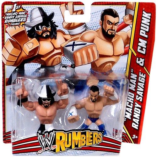 "WWE Wrestling Rumblers Mini Figure 2-Pack /""Macho Man/"" Randy Savage /& CM Punk"