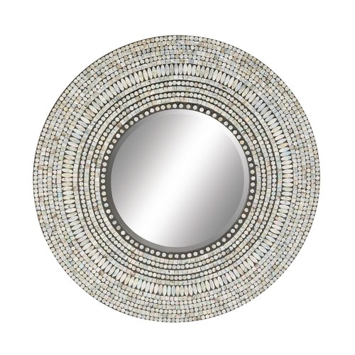Cole & Grey Wood Shell Inlay Round Mirror by Overstock