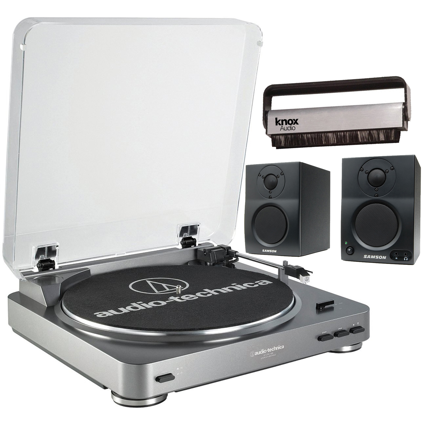 Audio-Technica AT-LP60 USB Belt-Drive Stereo Turntable + Bluetooth Monitors + Cleaning Brush