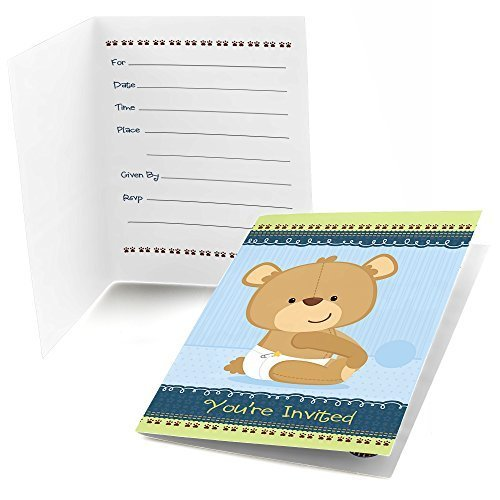 Baby Boy Teddy Bear - Fill In Baby Shower Invitations (8 count)
