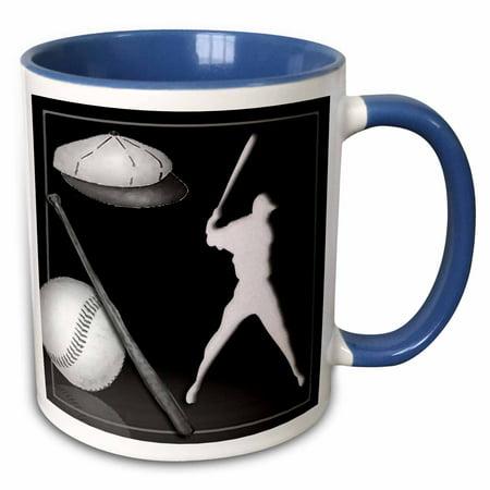 3dRose Baseball Player - Two Tone Blue Mug, 11-ounce (Blue Baseball Player)