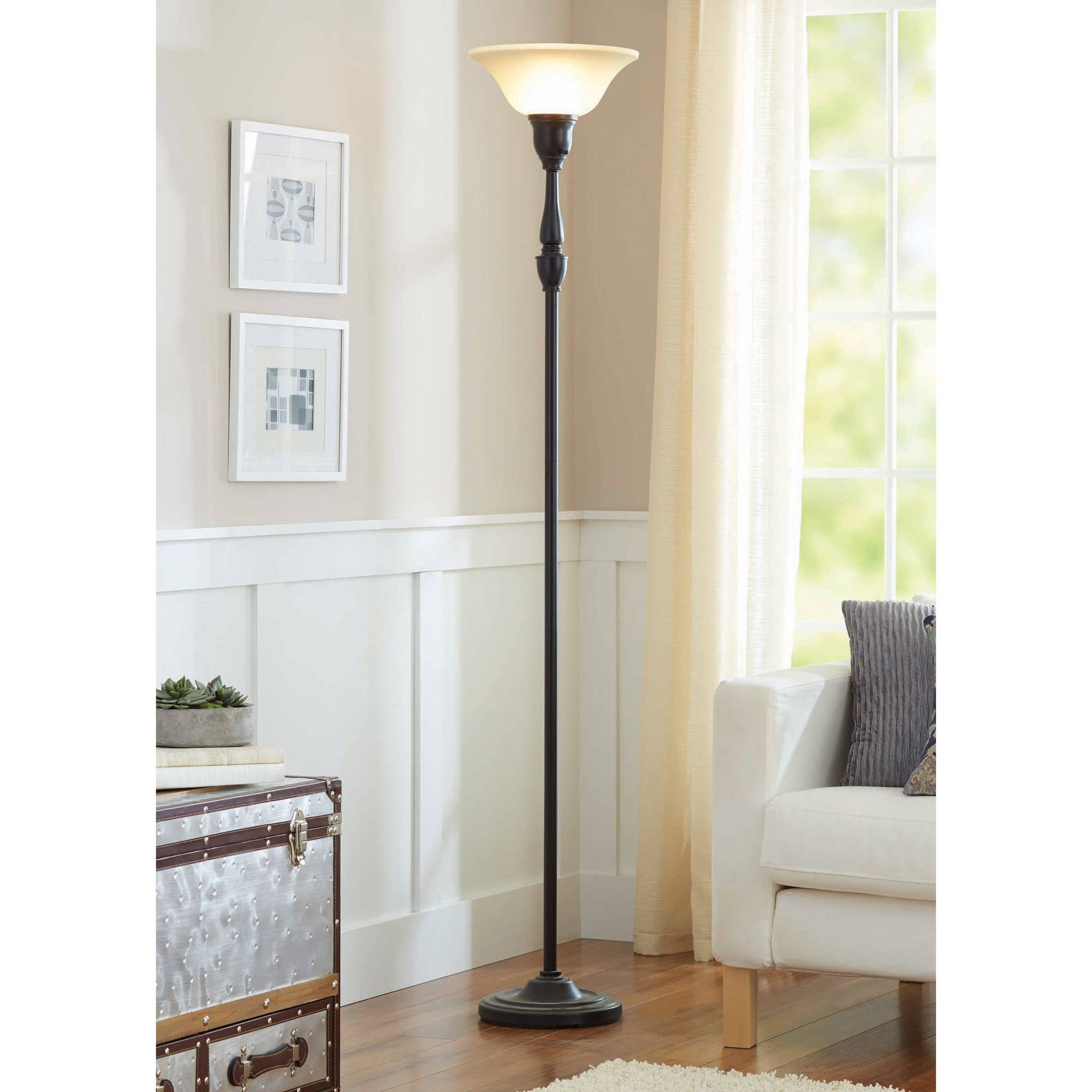 "Better Homes and Gardens 70"" Restoration Bronze Finish Torchiere Floor Lamp"