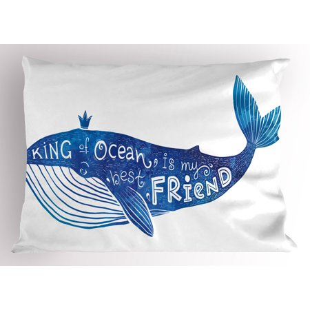 Whale Pillow Sham Kind of Ocean is My Best Friend Quote with Whale Fish Paintbrush Artsy Picture, Decorative Standard Size Printed Pillowcase, 26 X 20 Inches, Violet Blue White, by