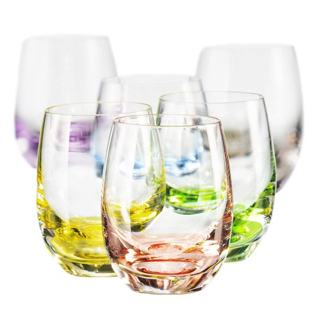 Bohemian Crystal Set of 6 Beverage Tumblers - Rainbow Colored Glasses 10 Oz - Rainbow Glasses