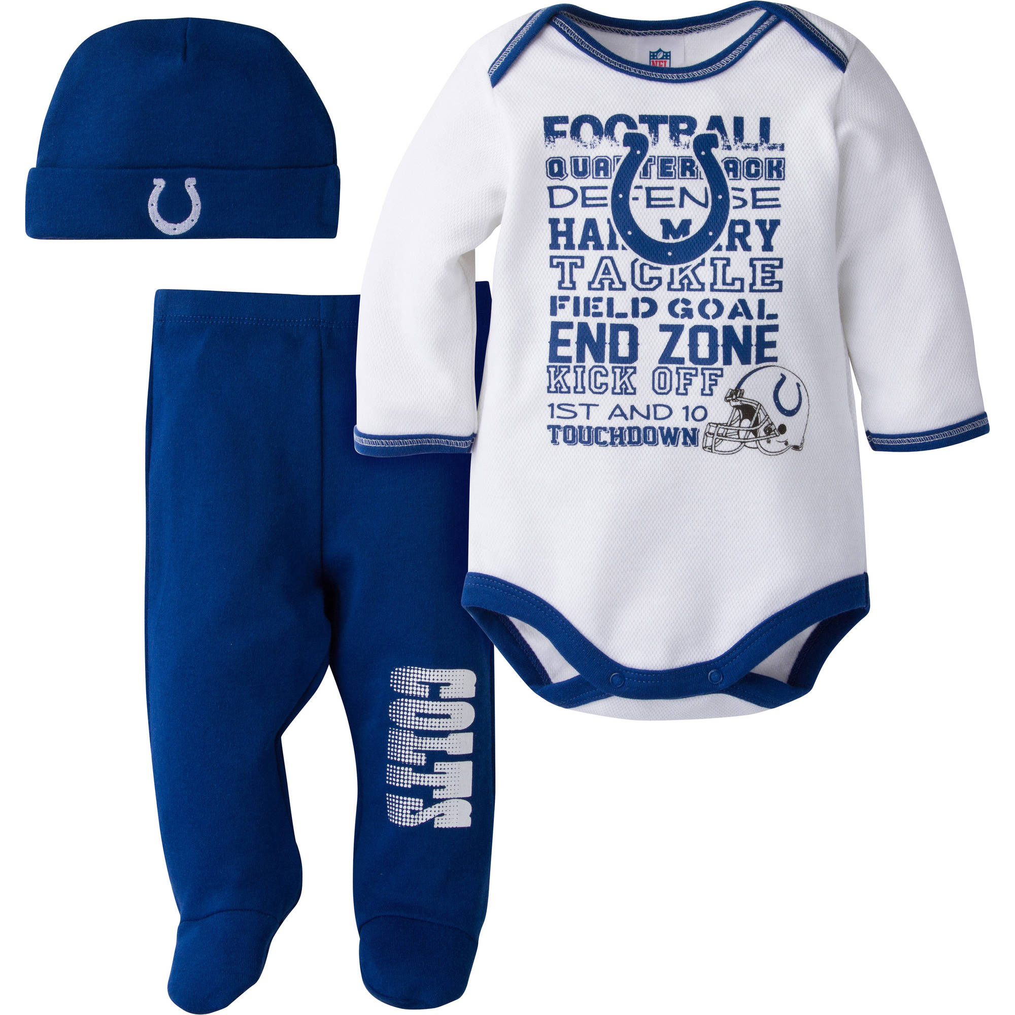 NFL Indianapolis Colts Baby Boys Bodysuit, Pant and Cap Outfit Set, 3-Piece