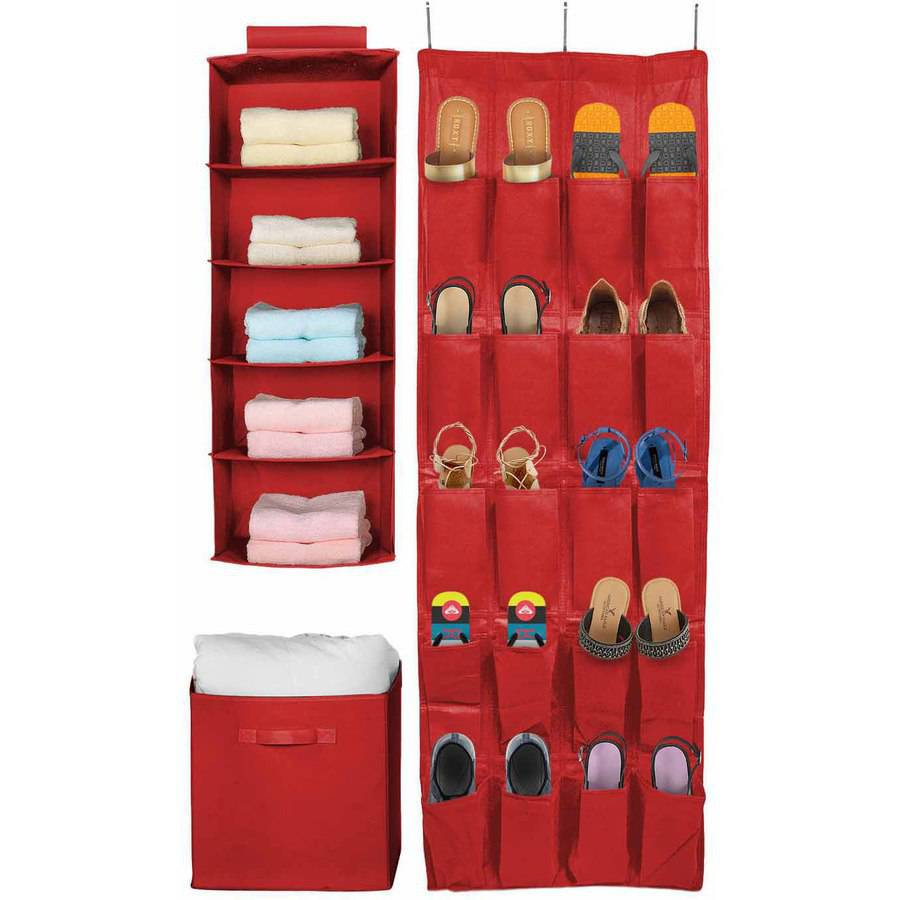 Sorbus Set of 3 Foldable Storage Unit, Red