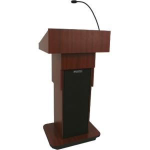 "AmpliVox W505A - Executive Adjustable Column Non-sound Lectern - Sculpted Base - 22"" Table Top Width x 17"" Table Top Depth - 44"" Height - Assembly Required - Melamine Laminate, Walnut"