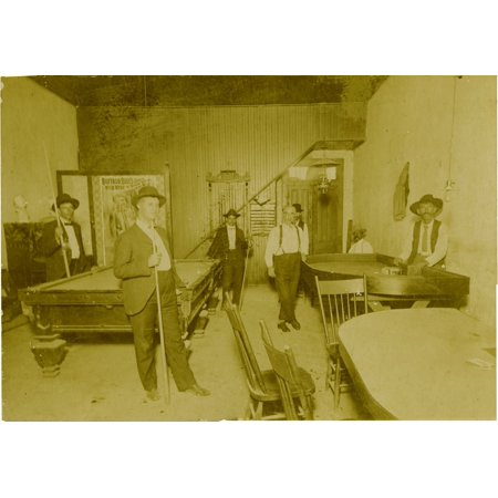 Saloon Gambling Hall & Poster Of Buffalo Bill 1915 Great Image Of A Saloon A Pool Table Has Pool Rack On Wall Full Of Cues A Card Table In Background With Deck Of Cards Dice Table Has Poker Chips In F