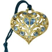 Gloria Duchin Filigree Gold Heart with Blue Crystals Christmas Ornament