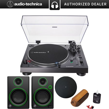 System 3 Modular Media - Audio-Technica AT-LP120XUSB Direct-Drive Turntable Analog/USB, Black + Audio Immersion Bundle w/ Platter, Vinyl Record Cleaning System & Mackie 3