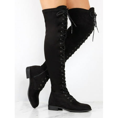 Women Lace Up Side Zip Over The Knee Boots Ladies Thigh High Low Heel Shoes