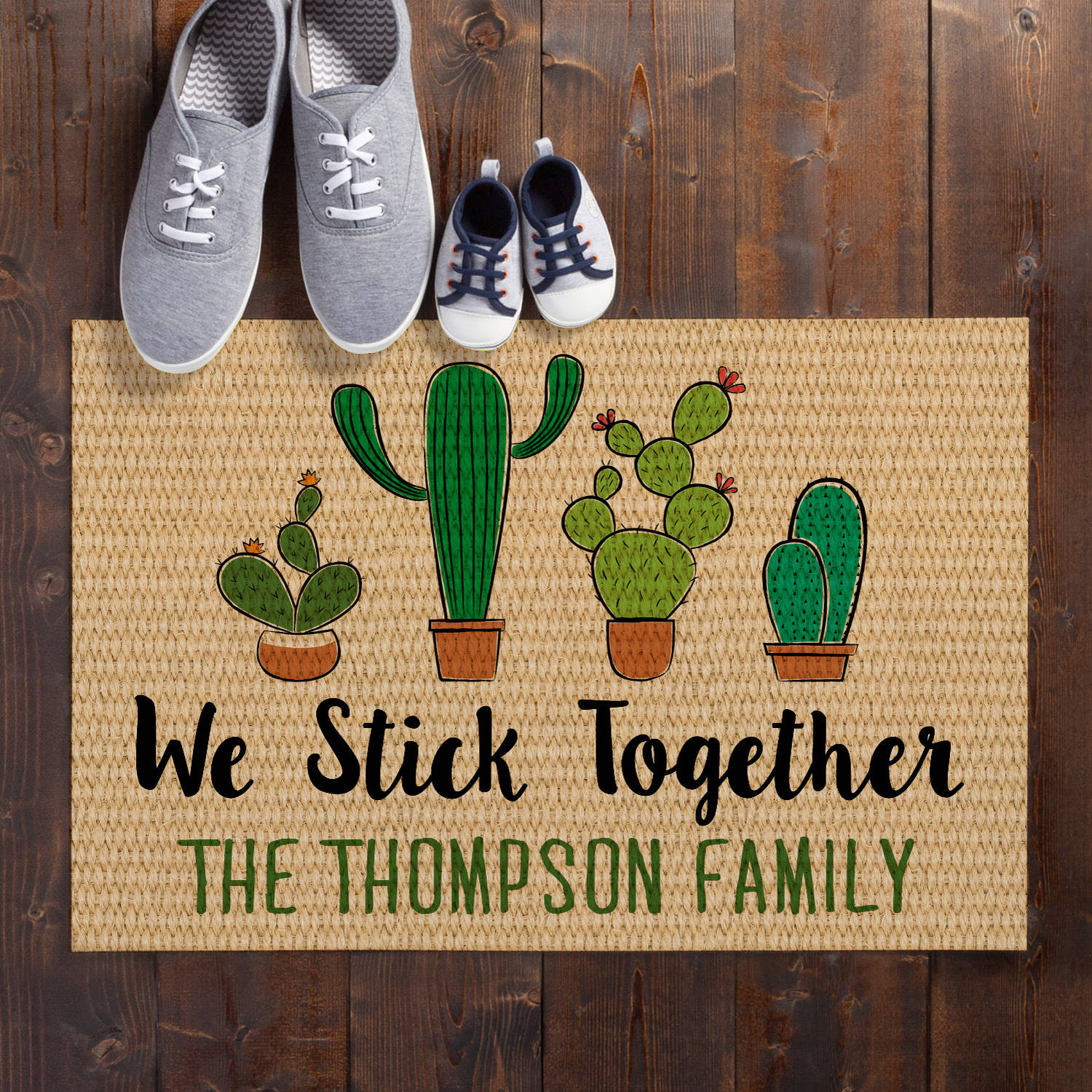 Personalized Doormat - Cactus Family of Two - Six
