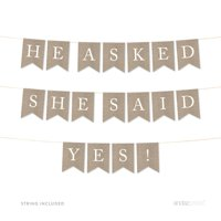 He Asked She Said Yes Burlap Wedding Pennant Party Banner