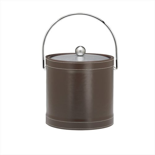 kraftware stitched 3 qt ice bucket with bale handle in chocolate