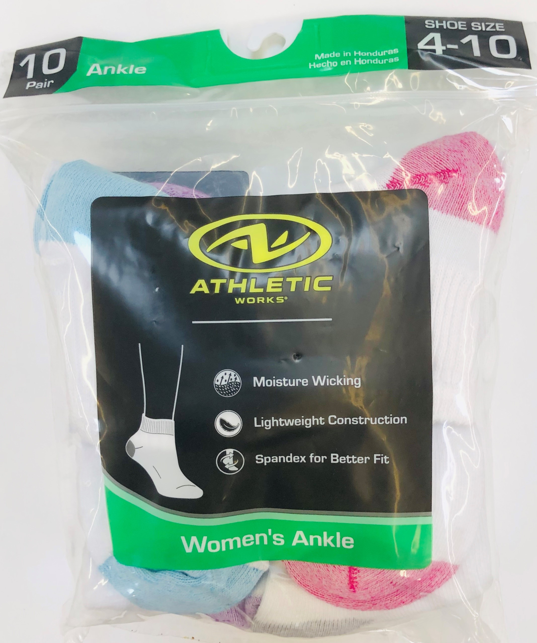 Athletic Works Women's Flat-Knit Ankle Socks, 10 Pairs