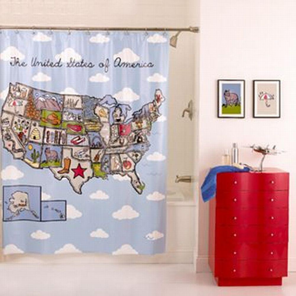 Home Classics USA Map PEVA Vinyl Shower Curtain America Bath