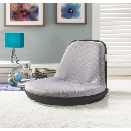 Loungie Grey Mesh Floor Chair - Foldable | Portable with Strap | Indoor and Outdoor |