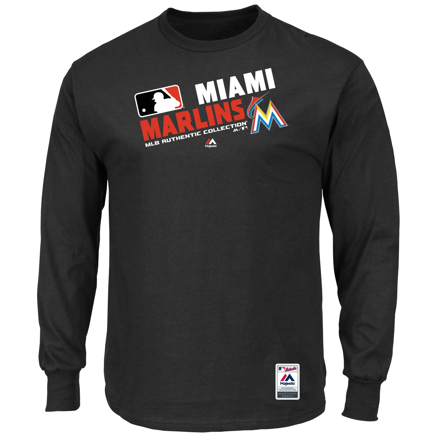 Miami Marlins Majestic Authentic Collection Team Choice Long Sleeve T-Shirt - Black