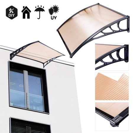 Koval Inc. 3 ft DIY Overhead Clear Outdoor Awning Patio Cover Door Window Polycarbonate Modern Design UV Rain Sunshine (3 FT, Coffee)