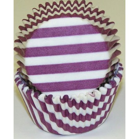 Purple and White Stripe Cupcake Liners - Baking Cups -50pack](Striped Cupcake Liners)