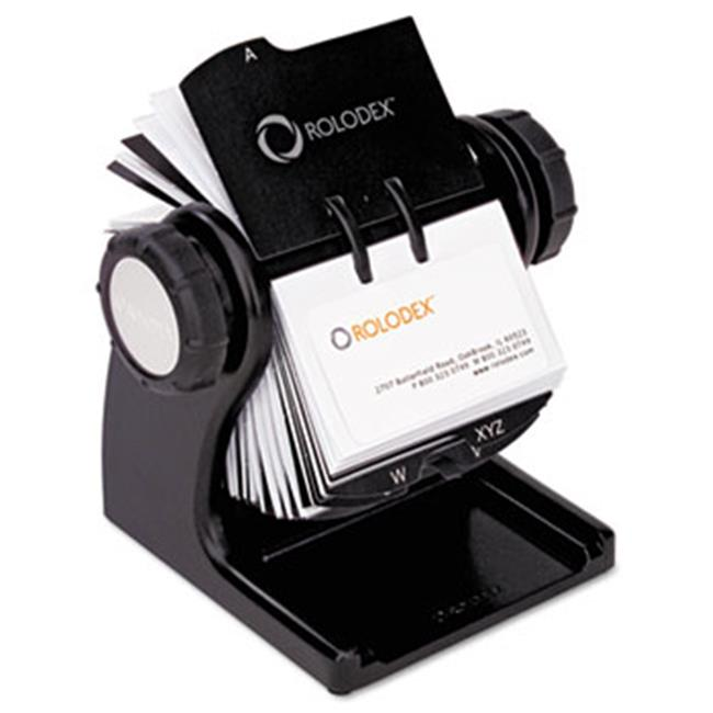 Eldon Office Products 1734238 Wood Tones Open Rotary Business Card File Holds 400 2 5/8 x 4 Cards, Black