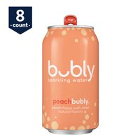 bubly Sparkling Water, Peach, 12 oz Cans, 8 Count