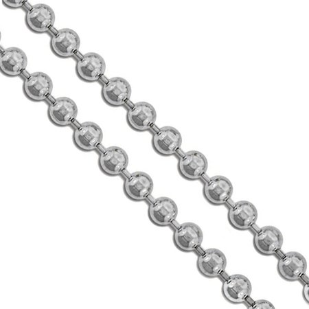 Beaded Dog (Stainless Steel Military Ball Bead Chain 4mm Dog Tag Link Pallini Necklace 16