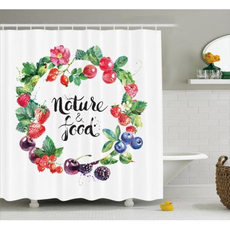 Fruit Shower Curtain Hand Drawn Watercolor Style Berries With Foliage Leaves Eco Themed Fresh Natural