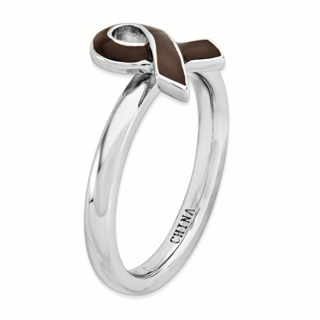 925 Sterling Silver Brown Enameled Awareness Ribbon Band Ring Size 8.00 Stackable Fine Jewelry Gifts For Women For Her - image 5 of 7