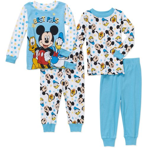 Mickey Mouse Newborn Baby Boy Mickey and Friends Cotton Tight Fit Pajamas 4pc Set