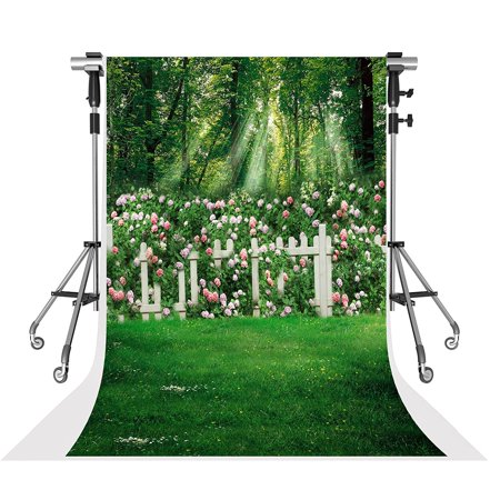 HelloDecor Polyster Spring Photography Backdrops Family Garden Pink Flowers Photo Background for Wedding Shooting