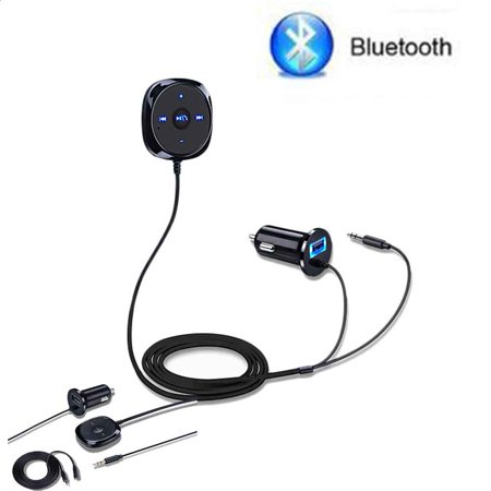 - Hands Free Wireless Bluetooth FM Transmitter Modulator A2DP Car Kit Wireless Bluetooth MP3 Player 3.5mm Audio AUX TF card Slots With Dual USB Car Charger