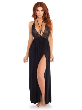 703a4061508b Product Image Women s Brushed Jersey and Lace Gown Halter Harness Sexy  Nightie Sleepwear