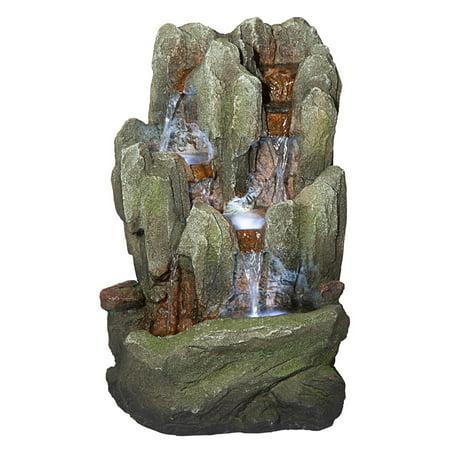 Design Toscano Lost Falls Cascading Waterfall Illuminated Tabletop Fountain
