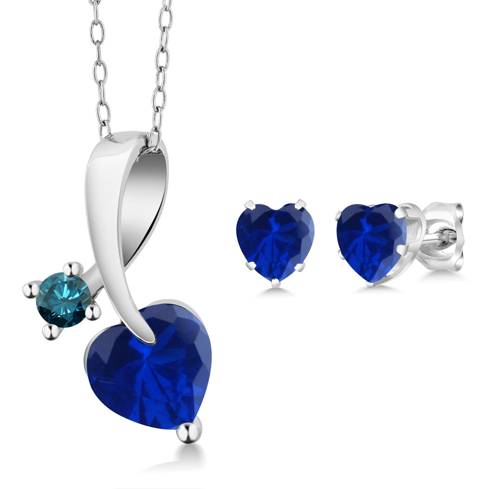 2.42 Ct Heart Shape Blue Simulated Sapphire 14K White Gold Pendant Earrings Set by