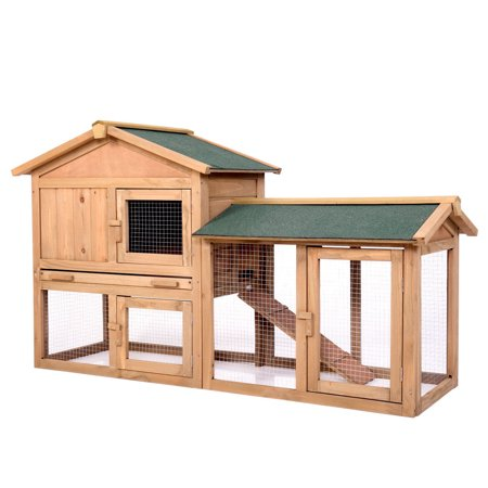 Jaxpety 58 Rabbit Hutch Chicken Coop Backyard Wooden Hutch Wrun