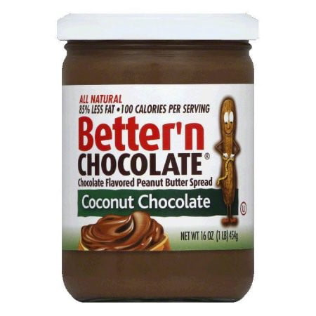 - (2 Pack) Better'n Chocolate Natural Peanut Butter Spread, Coconut Chocolate, 16 Oz
