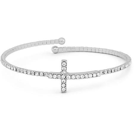 - Handset Austrian Crystal Silver-Plated Cross Flex Bangle